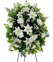 classic white floral sympathy standing spray