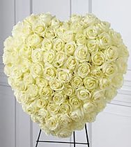 Solid White Rose Heart