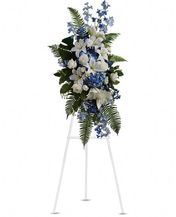 Blue White Funeral Spray