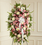 Pink White Sympathy Standing Spray