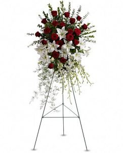 White Red Funeral Spray